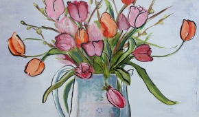 Blommen 80x80 cm- verkocht