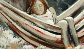 Meisje in hangmat 50x70 cm- 450 euro