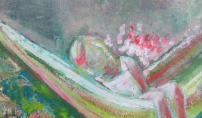 Klein geluk; Meisje in hangmat 50x50 cm- verkocht
