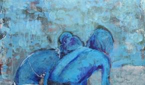 Klein geluk; jongen en meisje op strand 50x50 cm- 395 euro