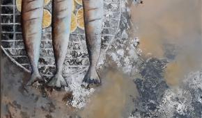 Grilled Fish 70x 100 cm- 600 euro co-productie Laar/ Bakkum