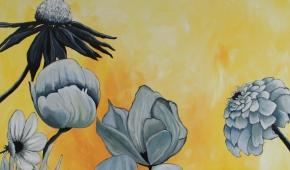 Beautiful flowers (blauw en geel) 100-100 cm 750 euro