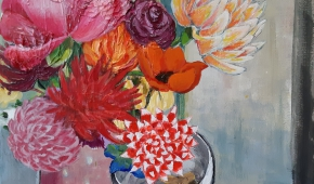 vaasje met bloemen 40x50 cm- verkocht